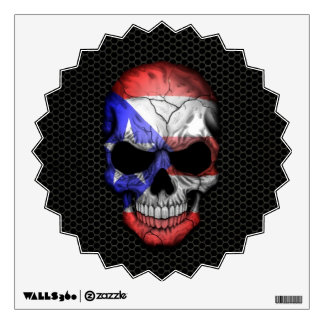 Puerto Rican Flag Skull on Steel Mesh Graphic Wall Decal
