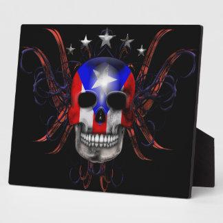 Puerto Rican Flag - Skull Photo Plaques