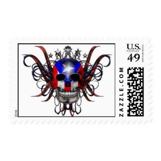 Puerto Rican Flag - Skull Stamp