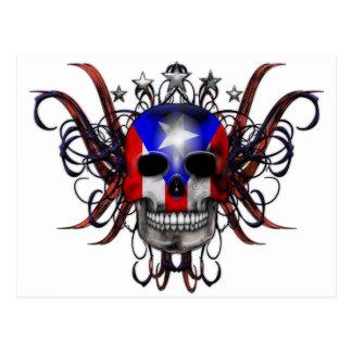 Puerto Rican Flag - Skull Postcard