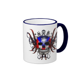 Puerto Rican Flag - Skull Ringer Coffee Mug