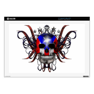 Puerto Rican Flag - Skull Decal For Laptop