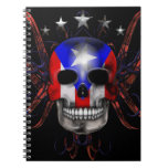 Puerto Rican Flag - Skull Spiral Note Book