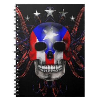 Puerto Rican Flag - Skull Spiral Note Book