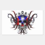 Puerto Rican Flag - Skull Sticker