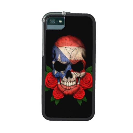 Puerto Rican Flag Skull with Red Roses iPhone 5/5S Covers