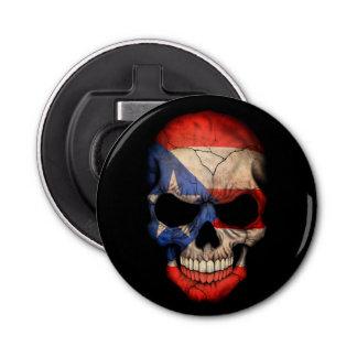 Puerto Rican Flag Skull Button Bottle Opener