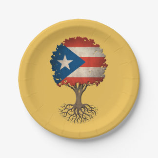 Puerto Rican Flag Tree of Life Customizable 7 Inch Paper Plate