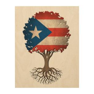 Puerto Rican Flag Tree of Life Customizable Wood Wall Decor