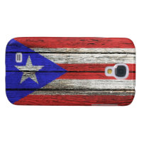 Puerto Rican Flag with Rough Wood Grain Effect Samsung S4 Case