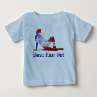 Puerto Rican Girl Silhouette Flag Baby T-Shirt