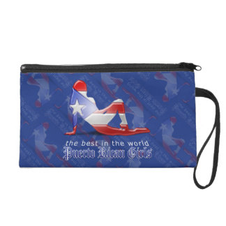 Puerto Rican Girl Silhouette Flag Wristlet Clutch