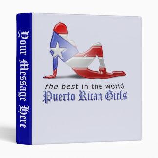 Puerto Rican Girl Silhouette Flag Binder