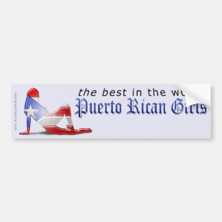 Puerto Rican Girl Silhouette Flag Bumper Sticker