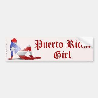 Puerto Rican Girl Silhouette Flag Car Bumper Sticker