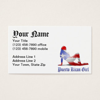 Puerto Rican Girl Silhouette Flag Business Card