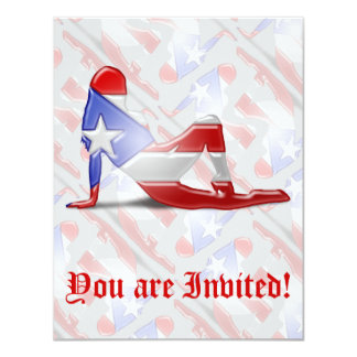 Puerto Rican Girl Silhouette Flag Card