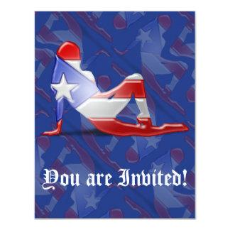 Puerto Rican Girl Silhouette Flag Card