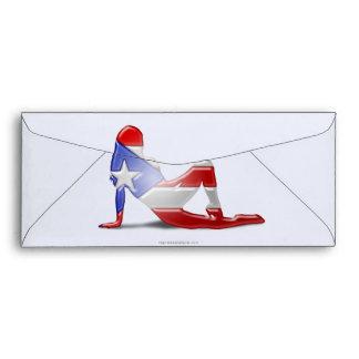 Puerto Rican Girl Silhouette Flag Envelope
