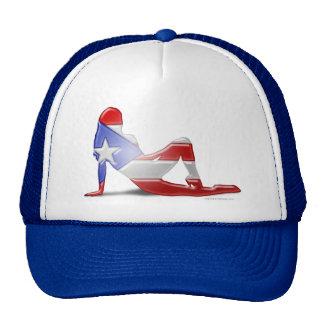 Puerto Rican Girl Silhouette Flag Mesh Hat