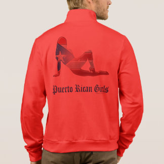 Puerto Rican Girl Silhouette Flag Jackets