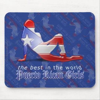 Puerto Rican Girl Silhouette Flag Mouse Pad