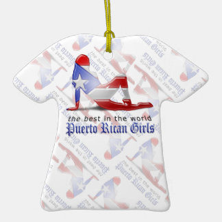 Puerto Rican Girl Silhouette Flag Christmas Tree Ornament