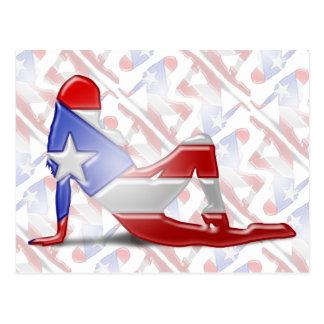 Puerto Rican Girl Silhouette Flag Postcard