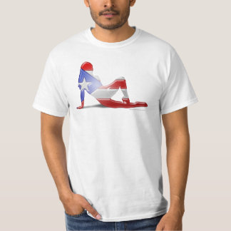 Puerto Rican Girl Silhouette Flag T-Shirt