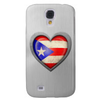 Puerto Rican Heart Flag Stainless Steel Effect Galaxy S4 Cover