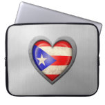 Puerto Rican Heart Flag Stainless Steel Effect Computer Sleeves