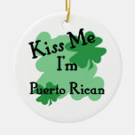 Puerto Rican Double-Sided Ceramic Round Christmas Ornament