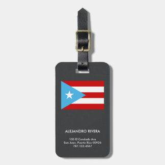 Puerto Rican Pride Flag Travel Bag Tag