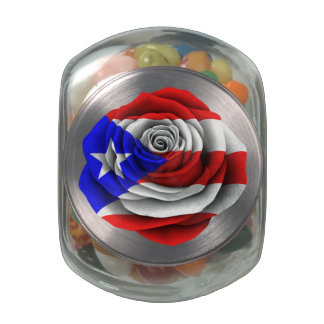 Puerto Rican Rose Flag Glass Candy Jar