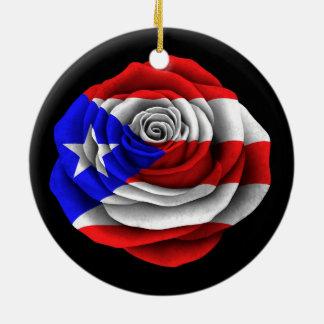 Puerto Rican Rose Flag on Black Ceramic Ornament