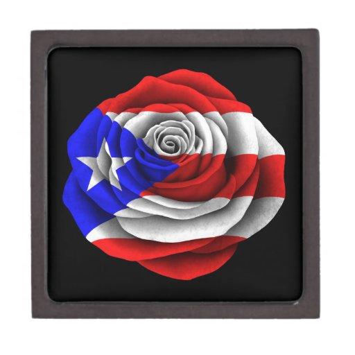 Puerto Rican Rose Flag on Black Premium Keepsake Box