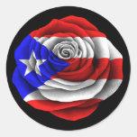 Puerto Rican Rose Flag on Black Round Sticker