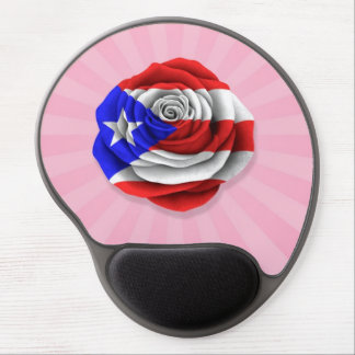 Puerto Rican Rose Flag on Pink Gel Mouse Mats