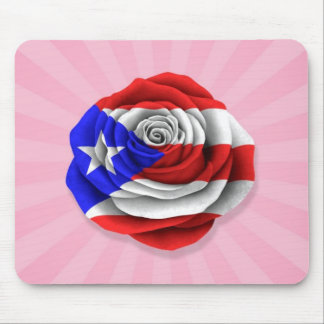 Puerto Rican Rose Flag on Pink Mouse Pad