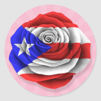 Puerto Rican Rose Flag on Pink Stickers