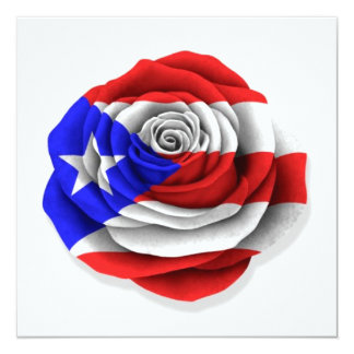 Puerto Rican Rose Flag on White Card