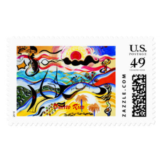 Puerto Rico - Abstract Fusion Postage Stamp