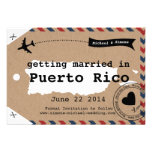 Puerto Rico Airmail Luggage Tag Save Date with Map Personalized Invitation