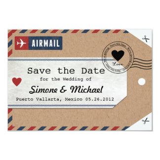 Puerto Rico Airmail Luggage Tag Save Date with Map 3.5x5 Paper Invitation Card