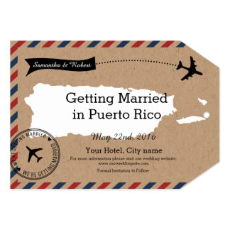 Puerto Rico Airmail Luggage Tag Save Dates 5x7 Paper Invitation Card