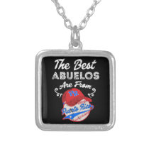 Puerto Rico Baseball Best Abuelo Fathers Day Silver Plated Necklace
