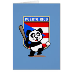 Greeting Card with Puerto Rico Baseball Panda design
