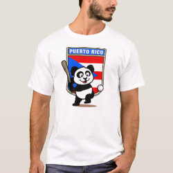 Men's Basic T-Shirt with Puerto Rico Baseball Panda design