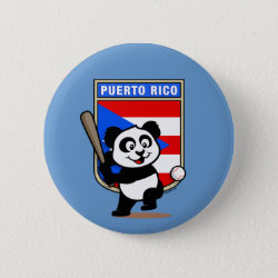 Round Button with Puerto Rico Baseball Panda design