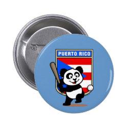 Round Button with Puerto Rico Baseball Panda design